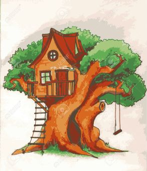 Tree house. House on tree for kids. Children playground with terrace, swing and ladder illustration